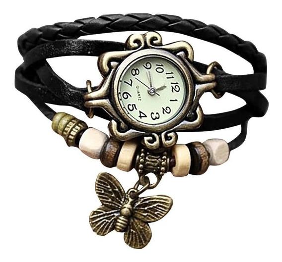 Relógio De Pulso Feminino Boho Vintage Pingente Borboleta