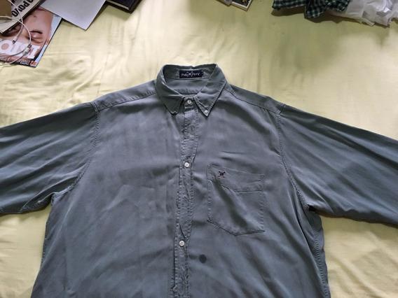 Camisa Polo Play Manga Longa Verde Escuro G G