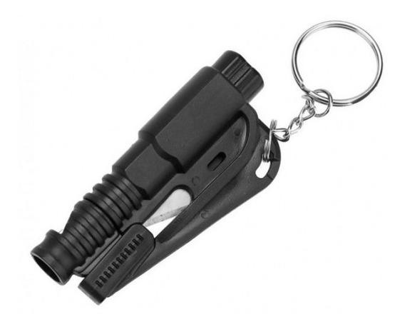 Chaveiro Resgate Quebra Vidro Corta Cinto Emergência Apito
