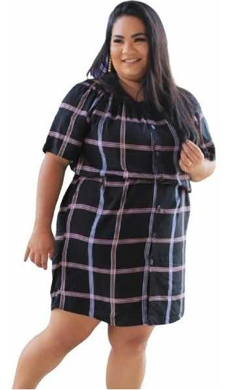 Vestido Cigana Feminino Plus Size Xadrez Casual Plus De Fato