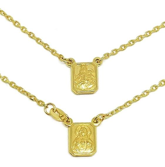 Escapulário Em Ouro 18k Medalha Pequena