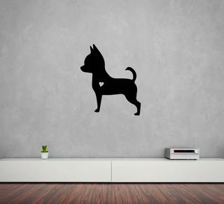 Hermoso Vinilo Decorativo Silueta Perro Chihuahua 50x50cm