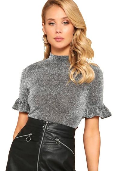 Camiseta Blusa Mujer Sexy Brillante Fruncido Cuello Alto
