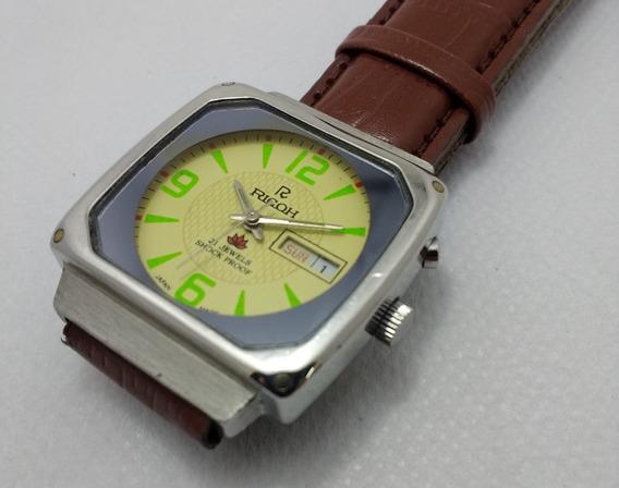Relógio Ricoh Automático Quadrado. Coleção Detalhes Verdes.