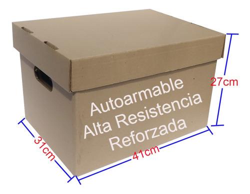 12 Cajas De Cartón X300 Reforzadas Con Tapa Para Archivo