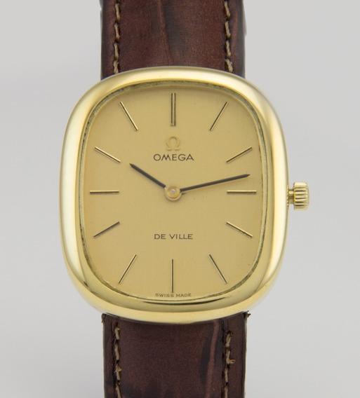 Relógio Omega De Ville Quadrado Em Ouro 18k - Unissex