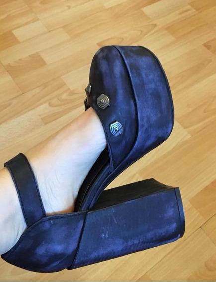 Sandalias Con Plataforma Azules Nazaria Talle 36 Con Hebilla
