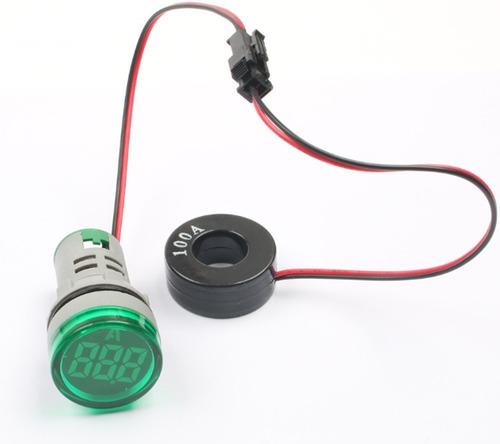 Amperímetro Digital 100a Color Verde 22mm