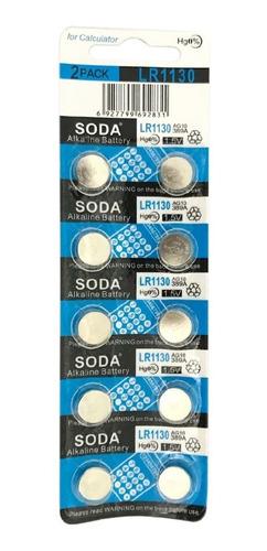 10 Pilas Boton Alcalinas Lr1130 Ag10 Lr54 189 389 1,5v Soda