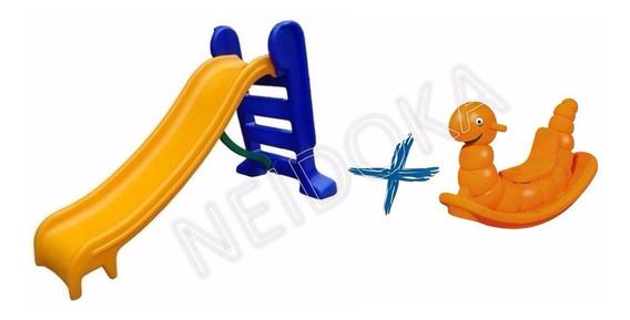 Escorregador Infantil 3 Degraus + Gangorra Balanço Nhoca