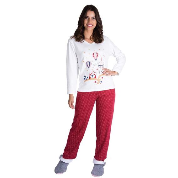 Roupa De Dormir Canelado Pijama De Inverno Feminino
