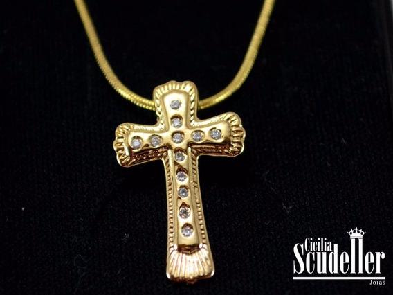 Corrente Feminina Com Pingente Cruz Pedras Banhado Ouro 18k