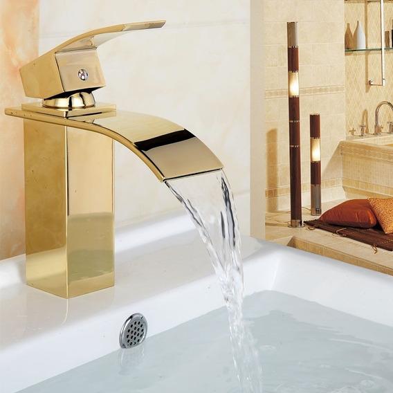 Torneira Cascata Banheiro Misturador Quadrada Dourada