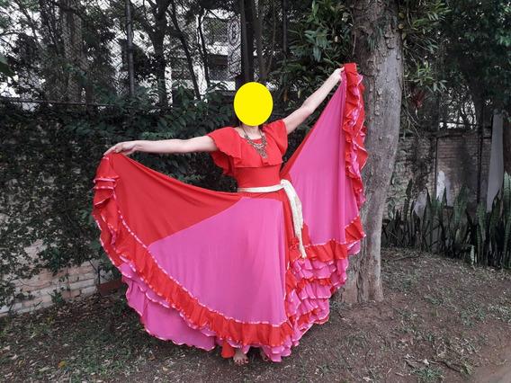 Saia Cigana Rosa E Vermelha 16m De Roda Lisa Tamanho Único
