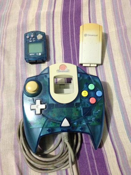 Controle Original Dreamcast Azul Com Vmu E Rumble Pak