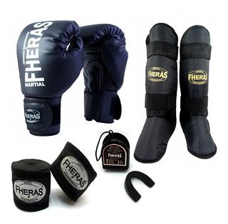 Kit Boxe Muay Thai Mma Luva Caneleira Bandagem Bucal Fheras