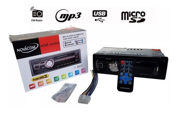 Radio Mp3 Com Usb E Sd Novacom 6812 Display Led Iluminado