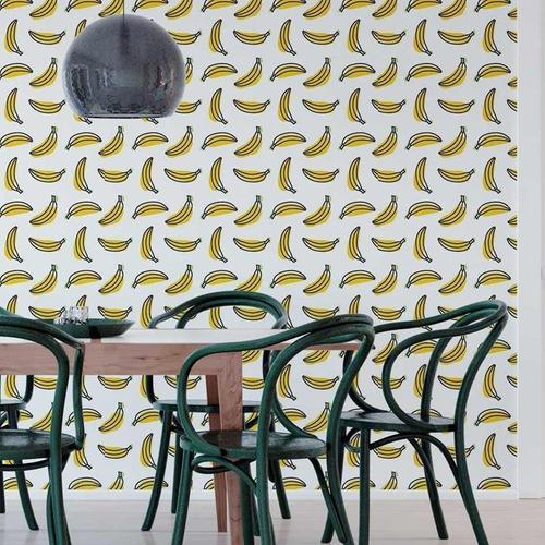 Papel De Parede Adesivo Banana Minimalista N05013 Rolo De 0,