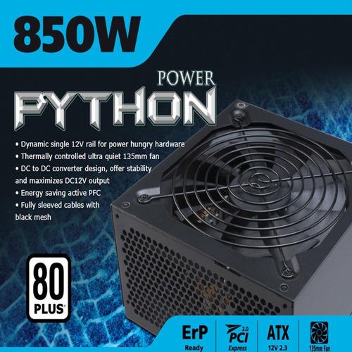 Fonte 850w Akasa Python Power - Pfc Ativo - Eficiência 85%