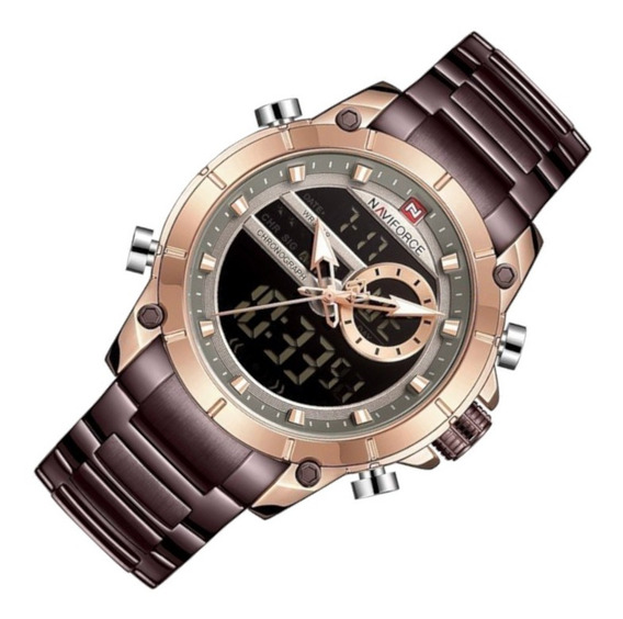 Relógio Masculino Naviforce 9163 Café