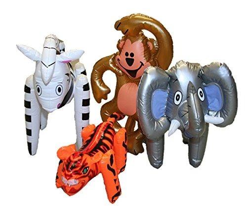 Animales De Zoológico Inflable Colorido ~ Set De 4