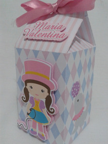 20 Caixa Milk Circo Rosa Menina Lembrancinha Personalizadas