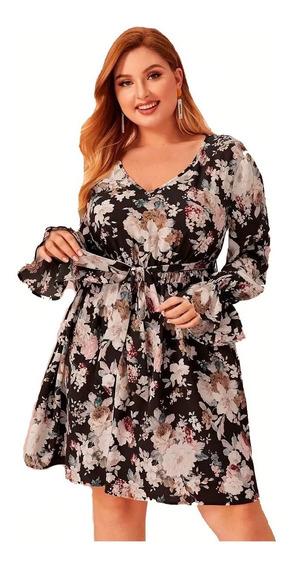 Vestido Shein Ruffle Cuff Floral Print Con Lazo Plus 2x 3x