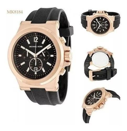 Relógio Pl110 Michael Kors Mk8096 Original Preto E Rose + Cx