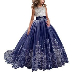 Vestido Niña 2 A 12 Años Fiesta Boda Graduacion Azul +4 Wde