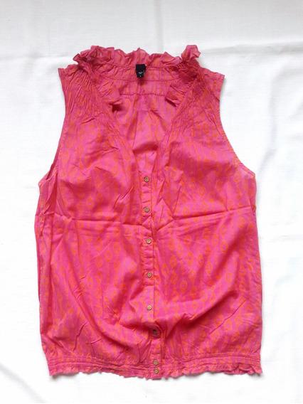 2x1 Blusa Top Polera Gap Talla L Fucsia Con Rojo Cuello Mao