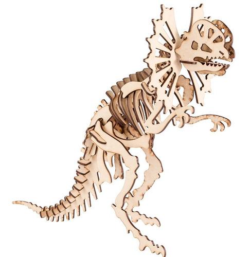 Imagen 1 de 6 de Dinosaurio P/armar 3d En Fibro Fácil Dilophosaurus