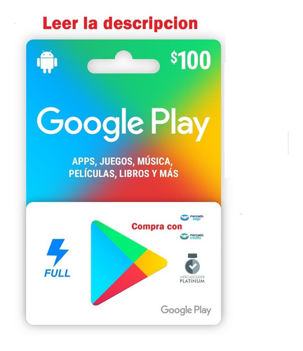 Imagen 1 de 3 de Tarjeta Google Play  Envio Full