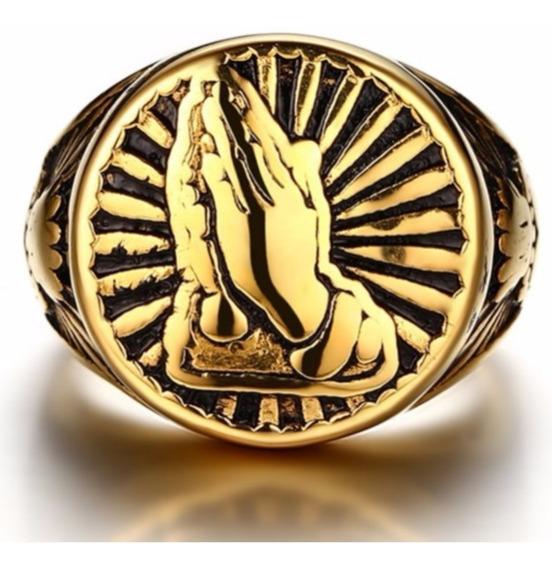 Anel Aço Inox 316l Ouro 18k Dourado Maciço Sao Bento Jesus Religião Cruz Maria Hip Hop Ostentação Hip Hop Lxbr A179