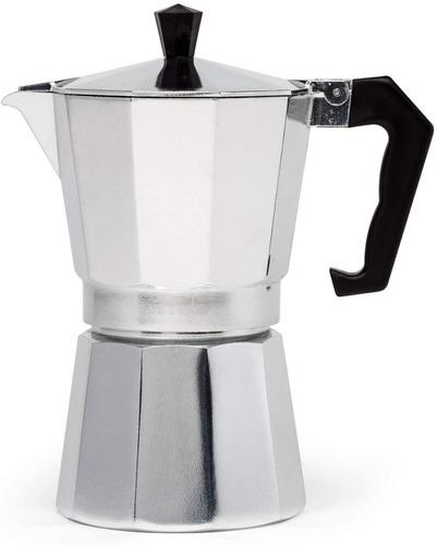 Cafetera Greca Estilo Italiana En Aluminio Para 6 Tazas