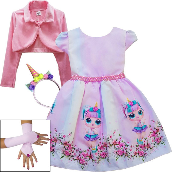 Vestido Infantil De Festa Tema Lol Surprise Unicornio E Kit