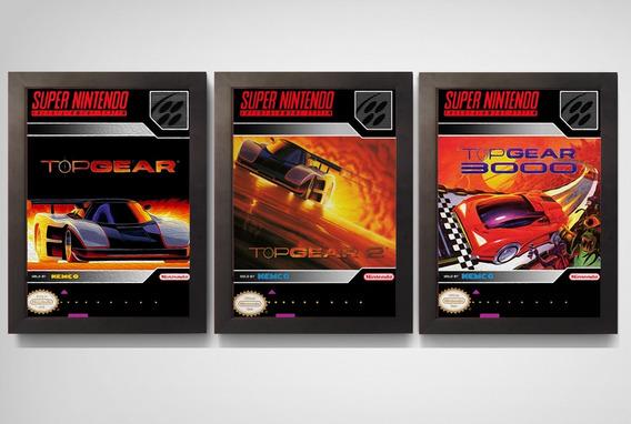 3 Quadros Poster Moldura Trilogia Top Gear Super Nintendo