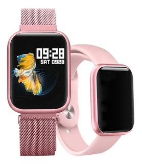 Reloj Inteligente P80 Pink Para Mujer + Manilla Adicional
