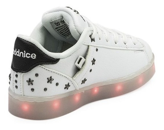 Zapatillas Addnice Led Usb Estrella Niña Blancas