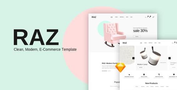 Raz Clean Modern Ecommerce Sketch Templates
