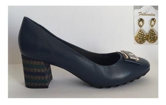 Sapato Scarpin Couro Femenino Ramarim S Alto Azul + Brinco