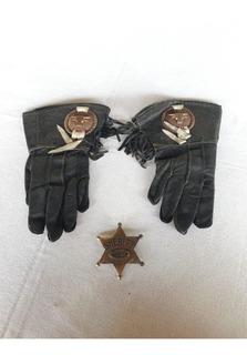 Distintivo Sheriff Luvas Couro Antigo Brinquedo Cowboy