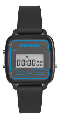 Relógio Masculino Digital Quadrado Preto E Azul Mormaii +nf