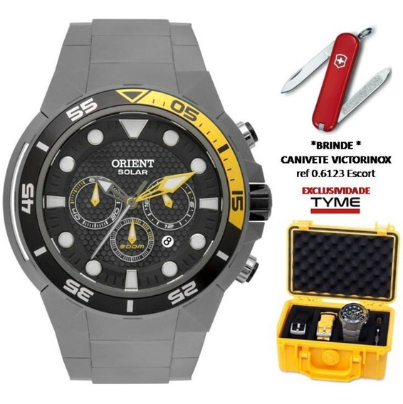 Relógio Orient Seatech Solar Scuba Diver Titanium Mbttc014 P1gx + Brinde C/ Nfe