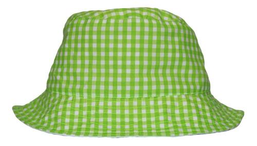 Imagen 1 de 4 de Bucket Hat Doble Vista Estampado Verde  / Blanco.