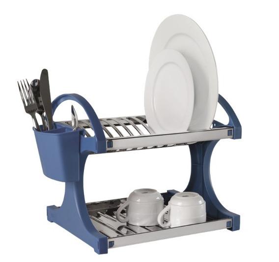 Escorredor Inox 12 Pratos Azul Com Laterais Cozinha Brinox