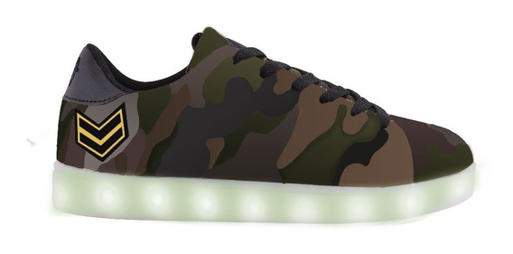 Zapatillas Footy Army Grren Con Luz Led Fxl128 Cve