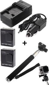 Kit 2 Baterias + 1 Carregador + Bastão De Mão Retrátil Gopro
