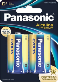10 Pilha Alcalina Premium Evolt Grande D Panasonic 15x Mais