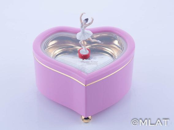 Cajita Musical Corazón Rosa. Incluye Bailarina