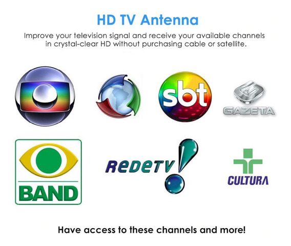 Mini Antena Digital Tv Aberta Canais Abertos De Tv Exbom